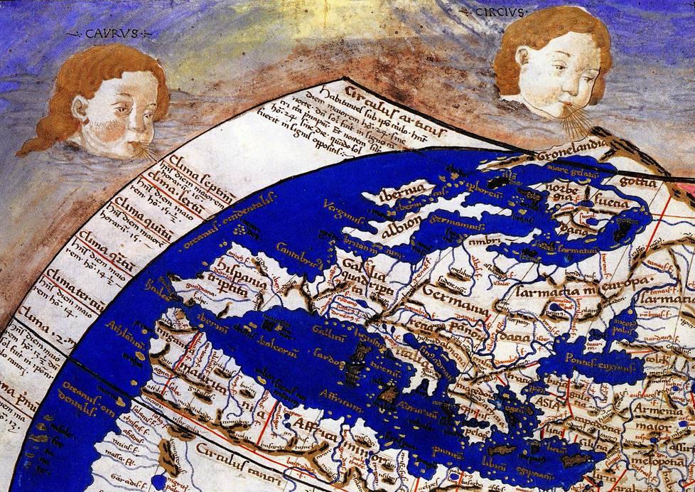 Skandinavia vuodelta 1467 peräisin olevan maailmankartan yksityiskohdassa. Grönlanti piirrettiin niemeksi, jolla oli yhteys Aasiaan.