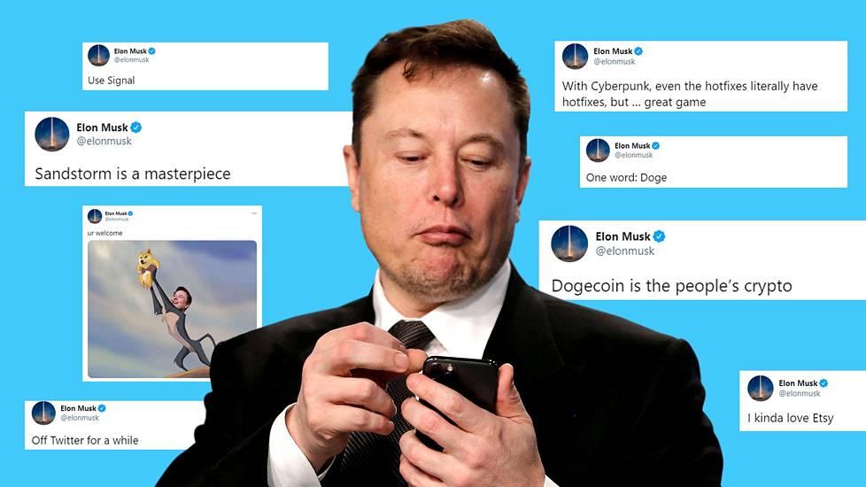 Elon Musk jakaa Twitterissä runsaasti omiin yhtiöihinsä liittyviä uutisia, mutta myös suosituksia.