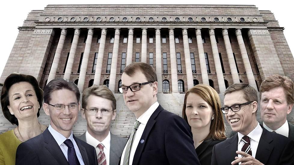 Anneli Jäätteenmäki, Jyrki Katainen, Matti Vanhanen, Juha Sipilä, Mari Kiviniemi, Alexander Stubb ja Esko Aho.