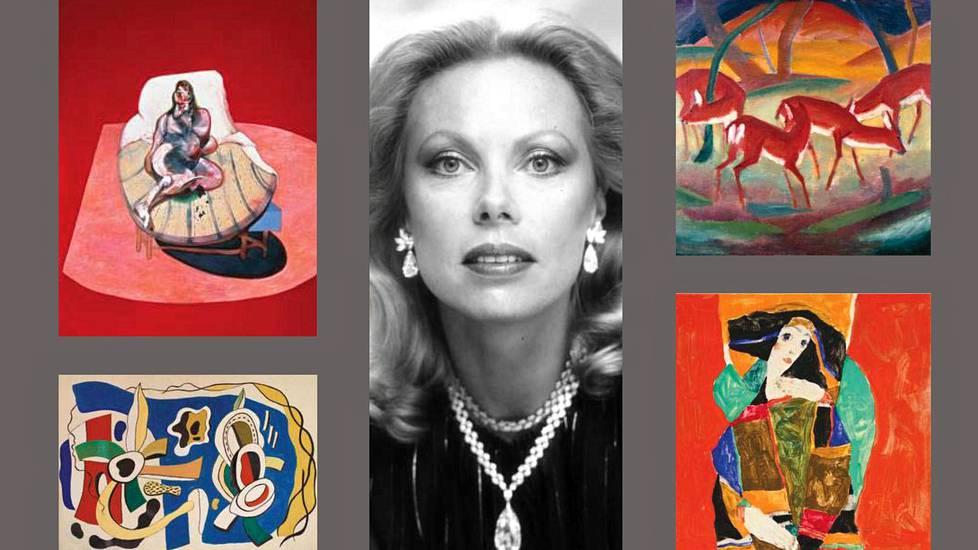 Heidi Hortenin (keskellä) taidekokoelmassa on Francis Baconia ja Franz Marcia (ylärivi) sekä esimerkiksi Fernand Légeriä ja Egon Schieleä (alarivi).