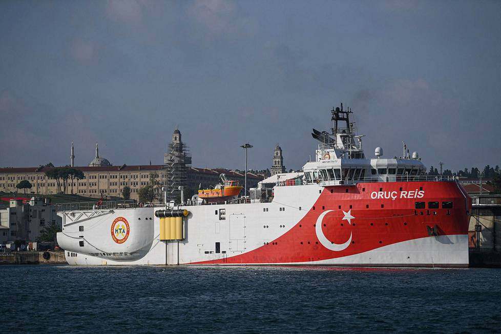 In August, Turkey sent the research vessel Oruc Reis (pictured) in a warship convoy to an area that Greece also considers to be its own.  It led to a collision between a Turkish and a Greek frigate, but the damage remained minor.