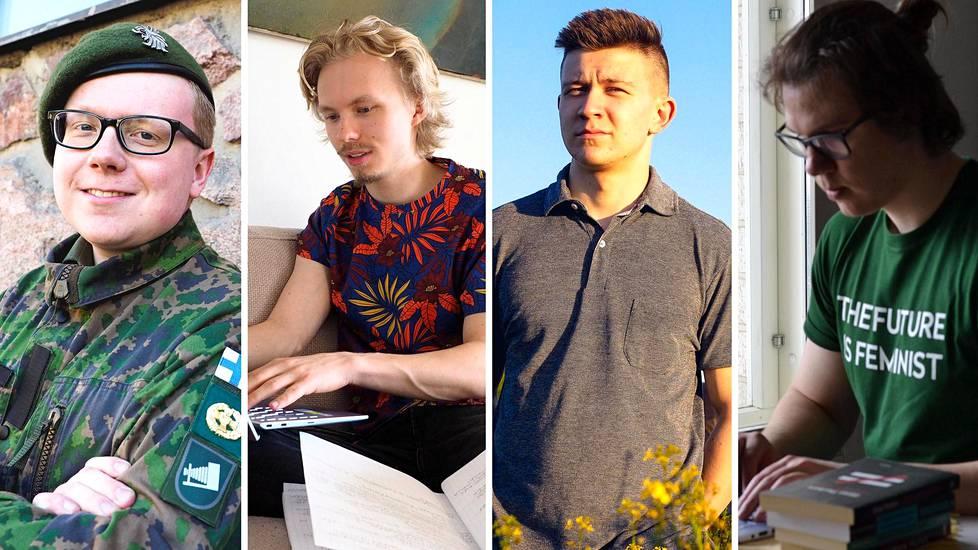 Jani Alanen, Eetu Vienonen, Jere Tiainen ja Rico Martikainen kertovat, mitä hyötyä he saivat varusmies- tai siviilipalveluksen suorittamisesta.