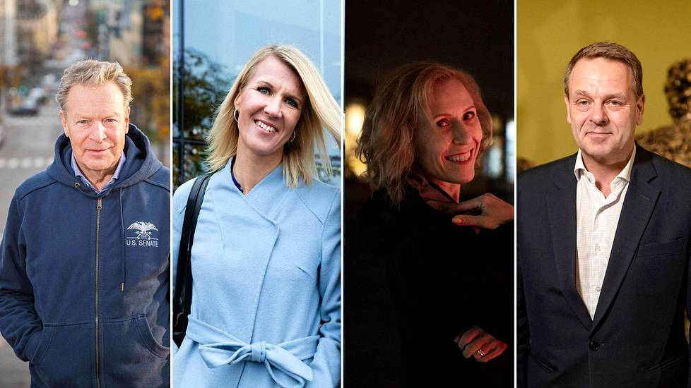 Olympiakomitean puheenjohtajapaikkaa tavoittelevat Ilkka Kanerva (vas.), Sari Multala, Susanna Rahkamo ja Jan Vapaavuori.