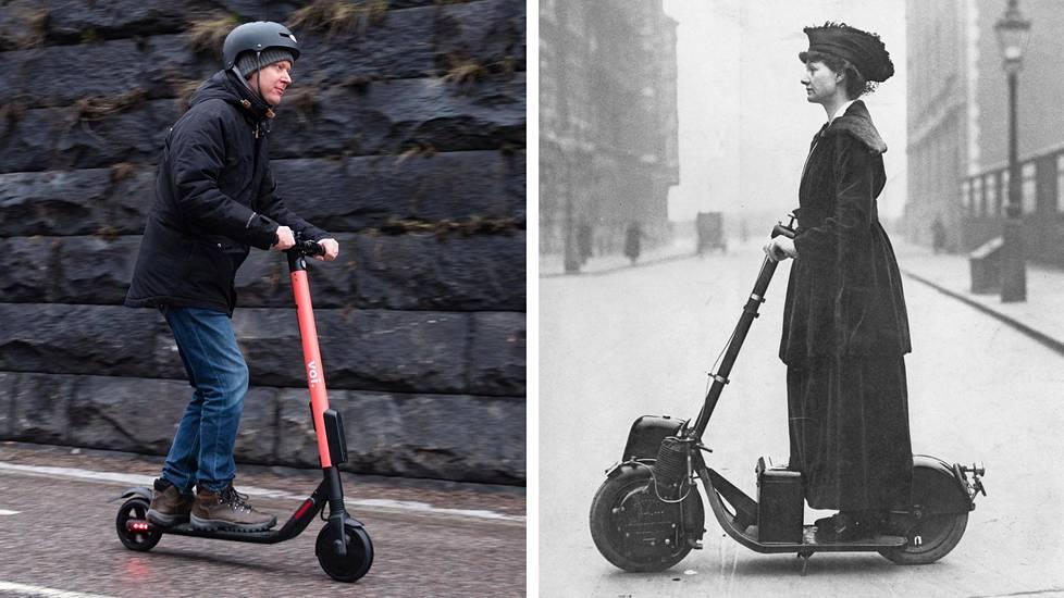 Vasemmalla sähköpotkulautailija Helsingissä keväällä 2019. Oikealla tunnettu lontoolainen naisasianainen Florence Norman, joka sai sähköpotkulaudan syntymäpäivälahjaksi mieheltään vuonna 1916.