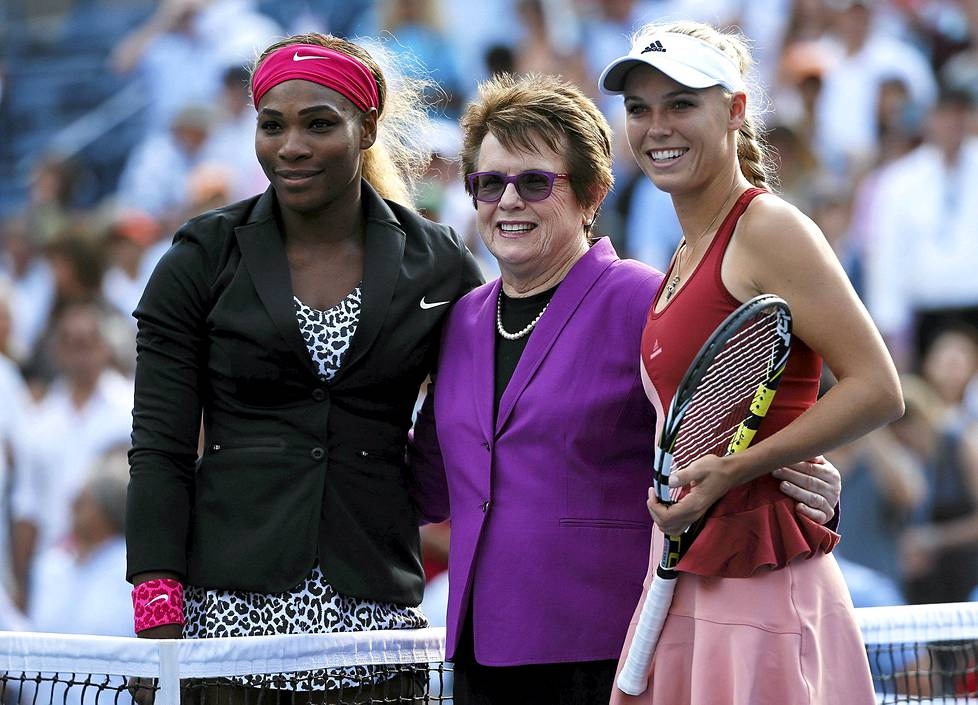 Serena Williams, Billie Jean King ja Caroline Wozniacki poseerasivat US Openissa.