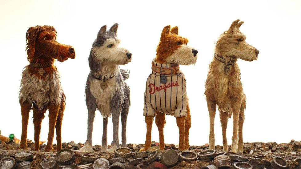 Duke (Jeff Goldblum), Boss (Bill Murray) ja Rex (Edward Norton) katsovat, kun Chief (Bryan Cranston) makoilee Isle of Dogs -animaatiossa.