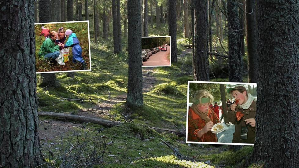 Nuuksion metsät alkoivat täyttyä retkeilijöistä pian kansallispuisto-aseman myöntämisen jälkeen. Kuvakollaasissa vasemmalla ollaan sienimetsässä 1997, keskellä kuva sienestysruuhkasta vuonna 1998 ja oikealla ulkomaalaisia opiskelijoita tutustumassa Nuuksioon 1996.