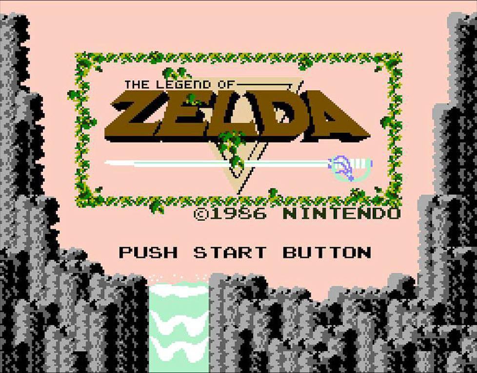 Tästä alkaa seikkailu: vuoden 1986 The Legend of Zeldan aloitusruutu.