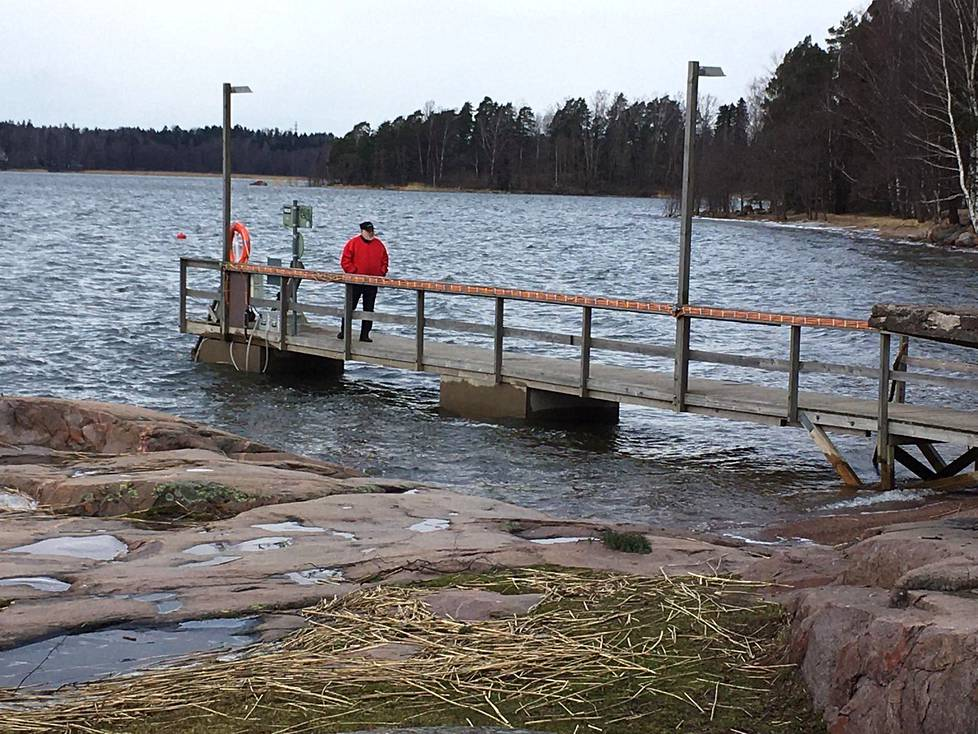 Aulikki Pitkänen ja hänen puolisonsa Martti Pitkänen käyvät meren rannalla kävelemässä kahdestaan. Kuvaa Munkkiniemen rannasta.