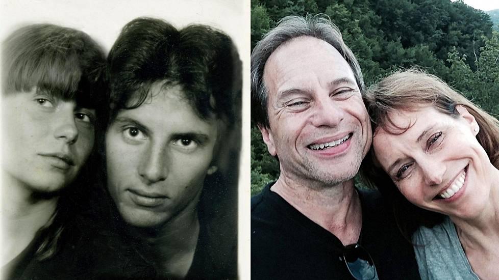 Auli Sookari ja Andy Freeberg passikuva-automaatissa Pariisissa vuonna 1982. Oikealla Andy ja Auli Italiassa vuonna 2015 viisi päivää sen jälkeen, kun he tapasivat uudelleen 29 vuoden jälkeen.
