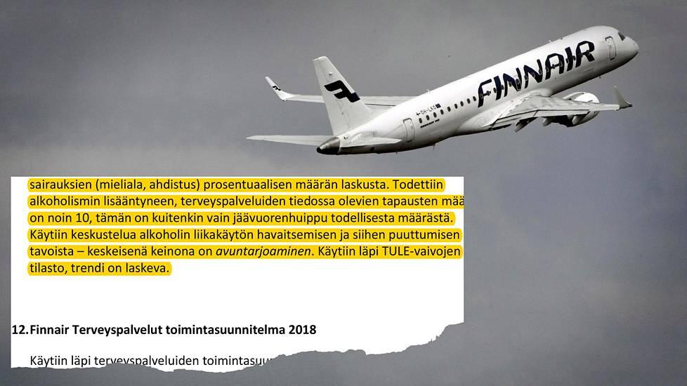 """Finnairissa on paheneva alkoholiongelma, kertovat työsuojelun pöytäkirjat – Lentoyhtiö: """"On ..."""
