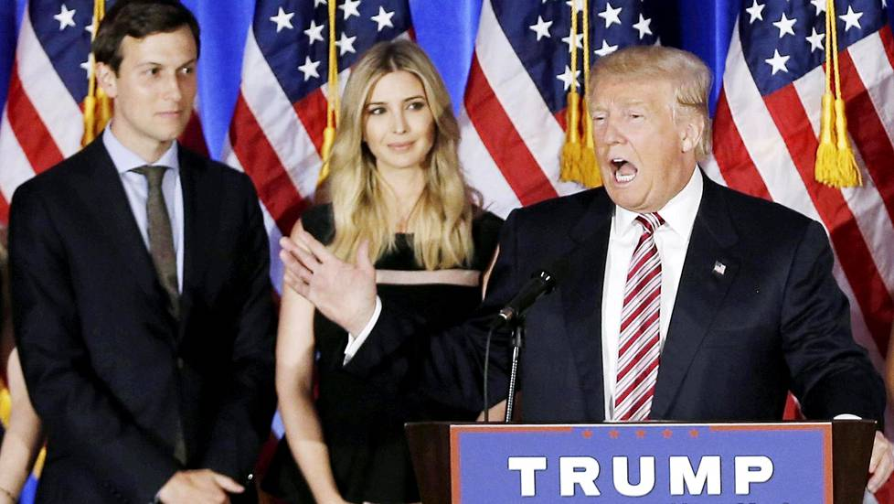 FILE PHOTO - Donald Trump speaks as his son-in-law Jared Kushner (L) and his daughter Ivanka listen at a campaign event at the Trump National Golf Club Westchester in Briarcliff Manor, New York, U.S. on June 7, 2016. REUTERS/Mike Segar/File Photo