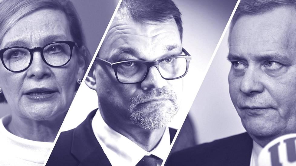 Eduskunnan puhemies Paula Risikko, pääministeri Juha Sipilä ja Sdp:n puheenjohtaja Antti Rinne.