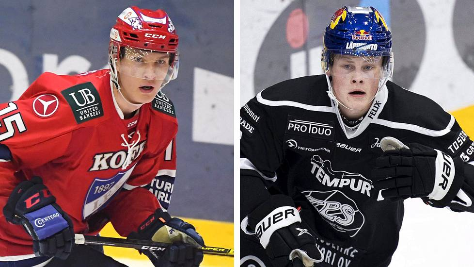 Anton Lundell (vas.) ja Juuso Pärssinen ovat nousseet nuorina joukkueidensa johtavien pelaajien joukkoon.
