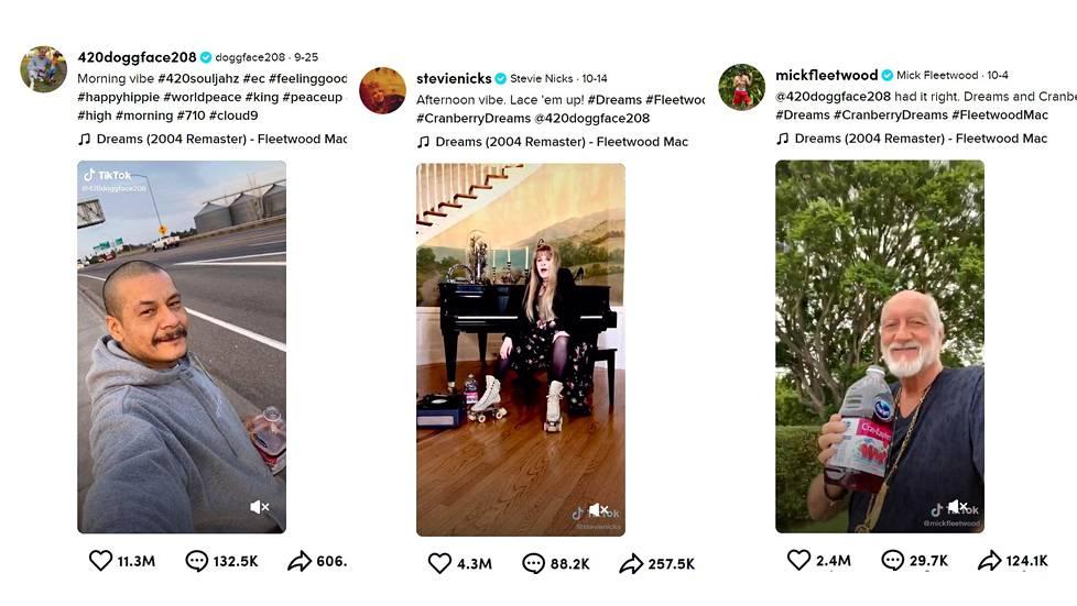 Idaholainen Nathan Apodaca latasi Tiktok-kanavalleen videon, jonka taustalla soi Fleetwood Macin Dreams. Video lähti viraaliksi ja lopulta myös bändin laulaja Stevie Nicks ja rumpali Mick Fleetwood julkaisivat siitä omat versionsa.
