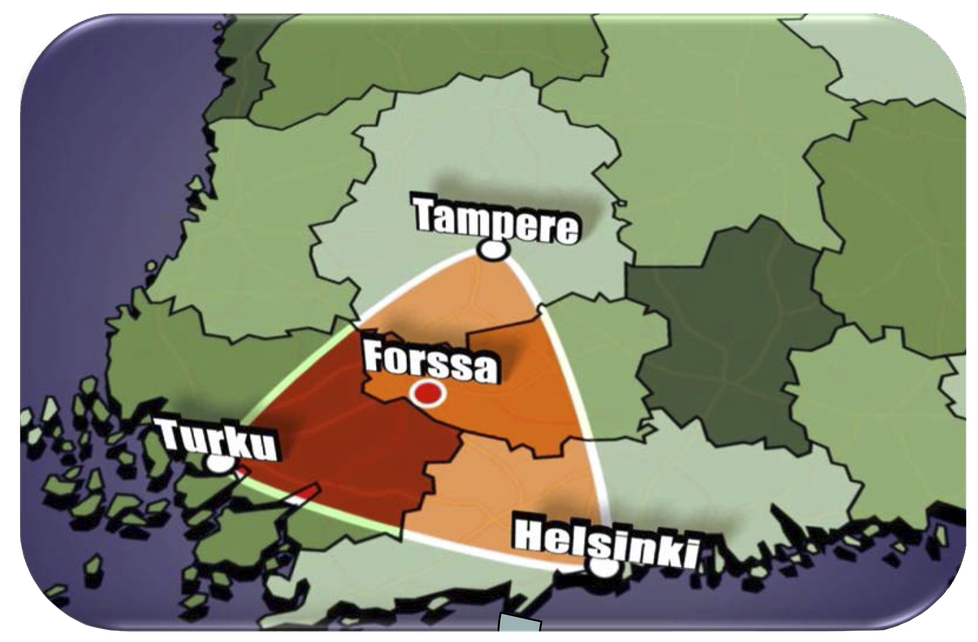 Forssa sijaitsee keskellä kolmiota, jonka alueella asuu 3,5 miljoonaa ihmistä.