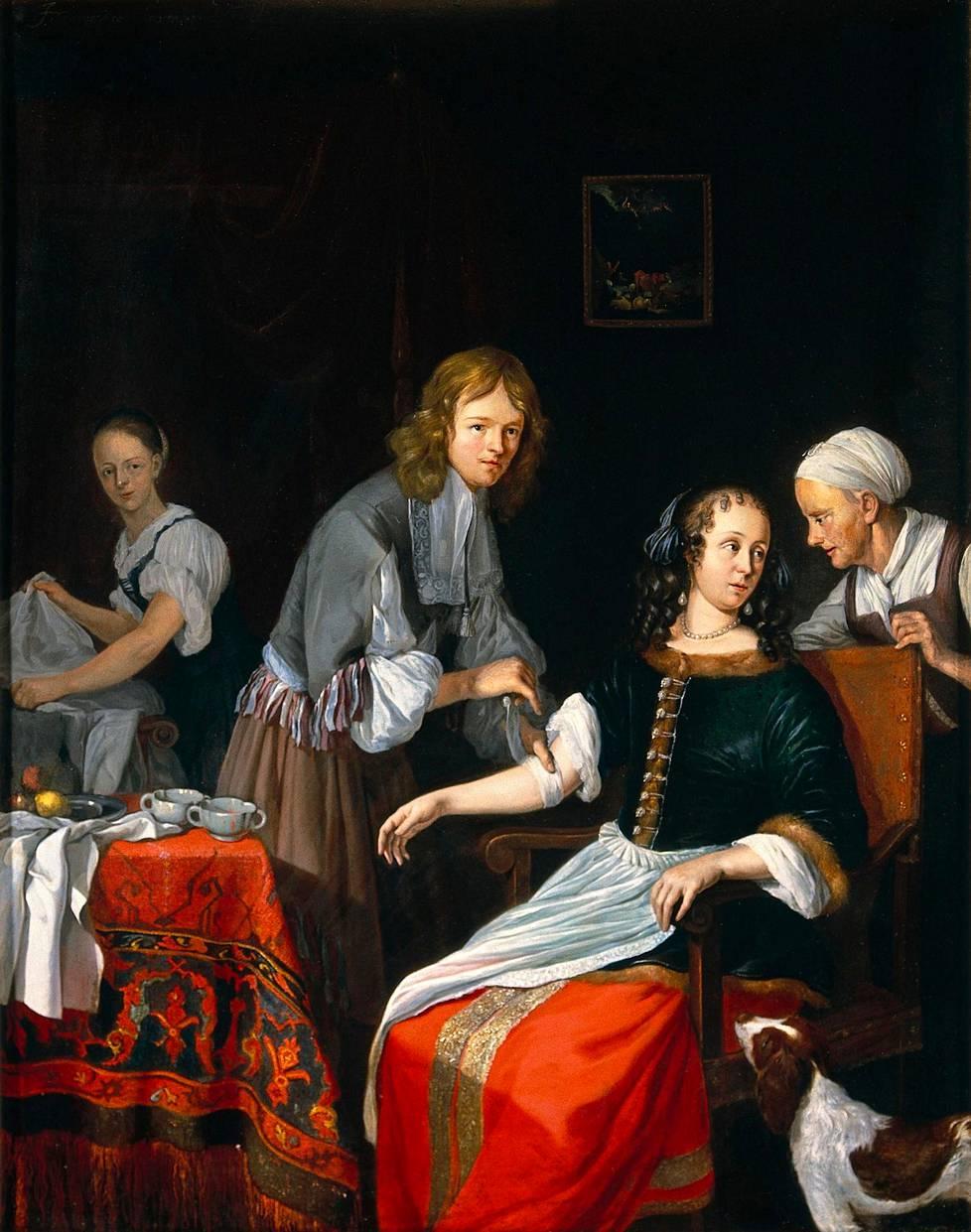 Lääkäri sitoo naisen käsivarren suoneniskennän jälkeen. Jacob Toorenvlietin maalaus on vuodelta 1666.
