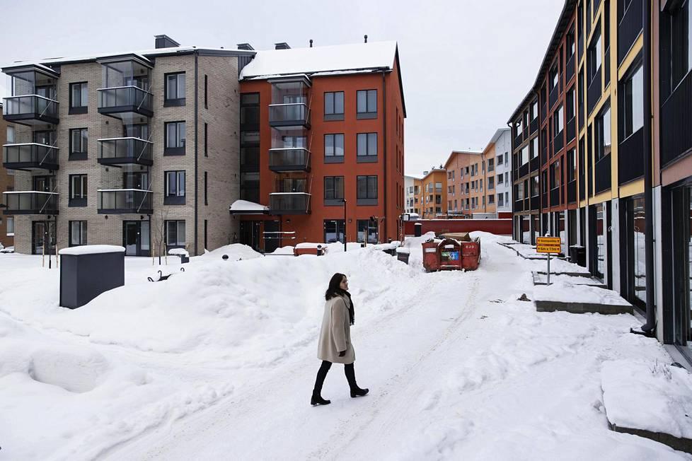 Helsingin edullisin uusi yksiö on myynnissä Kuninkaantammessa osoitteessa Taidemaalarinkatu 8. Kuvassa yksiötä rakentavan Skanskan myynti- ja markkinointijohtaja Marja Kuosma.