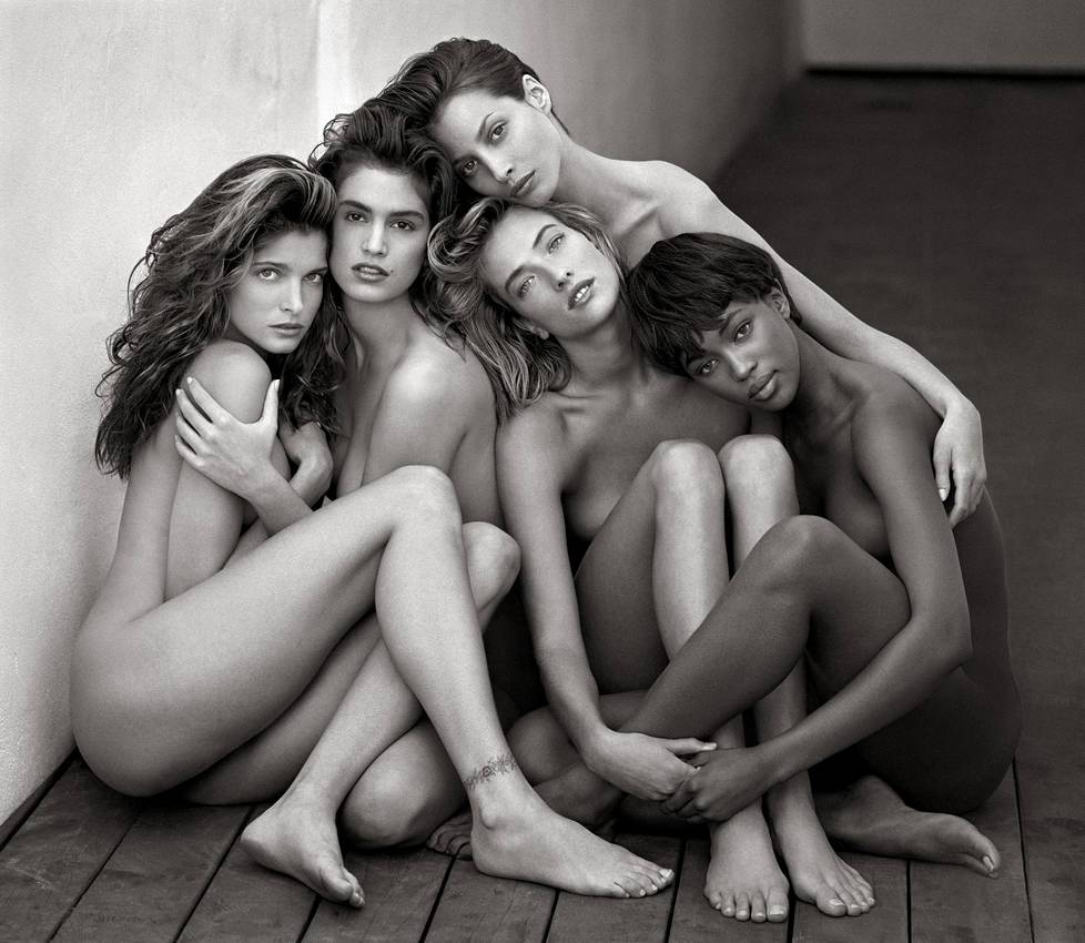 """Stephanie, Cindy, Christy, Tatjana, Naomi"", supermallit. Hollywood 1989."