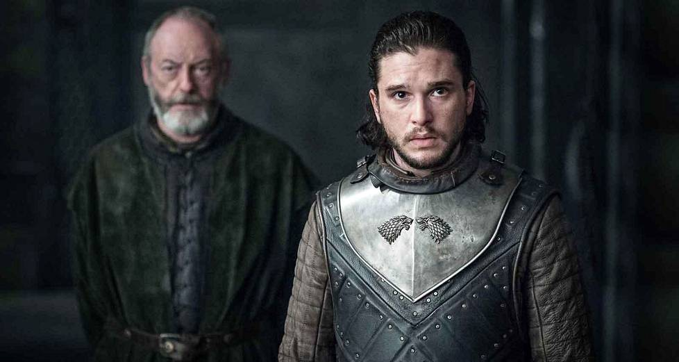 Davos Seaworth (Liam Cunningham) ja Jon Snow (Kit Harrington).