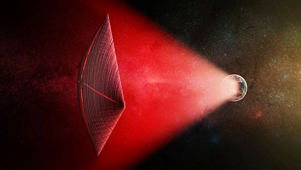 An artist's illustration of a light-sail powered by a radio beam (red) generated on the surface of a planet. The leakage from such beams as they sweep across the sky would appear as Fast Radio Bursts (FRBs), similar to the new population of sources that was discovered recently at cosmological distances.Taiteilijan näkemyksessä punaisena näkyvä radiopurske syntyy planeetan pinnalla ja liikuttaa valopurjeella ku