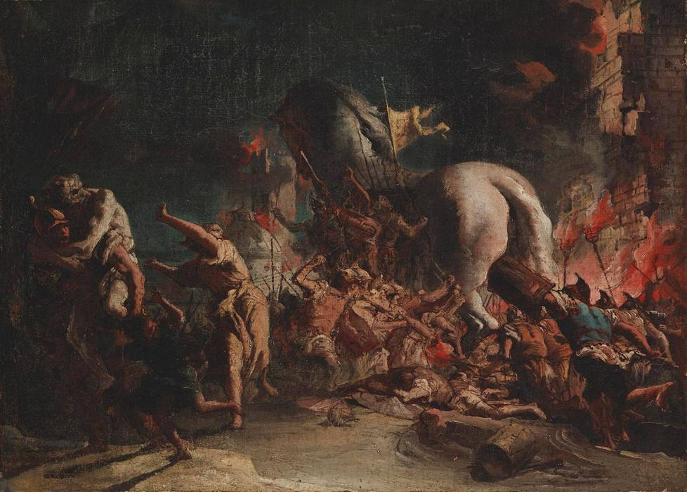 Domenico Tiepolon teos Kreikkalaiset hyökkäävät Troijaan (1770-luku) löytyi helsinkiläisestä huutokaupasta ja kuuluu Sinebrychoffin taidemuseon kokoelmiin.