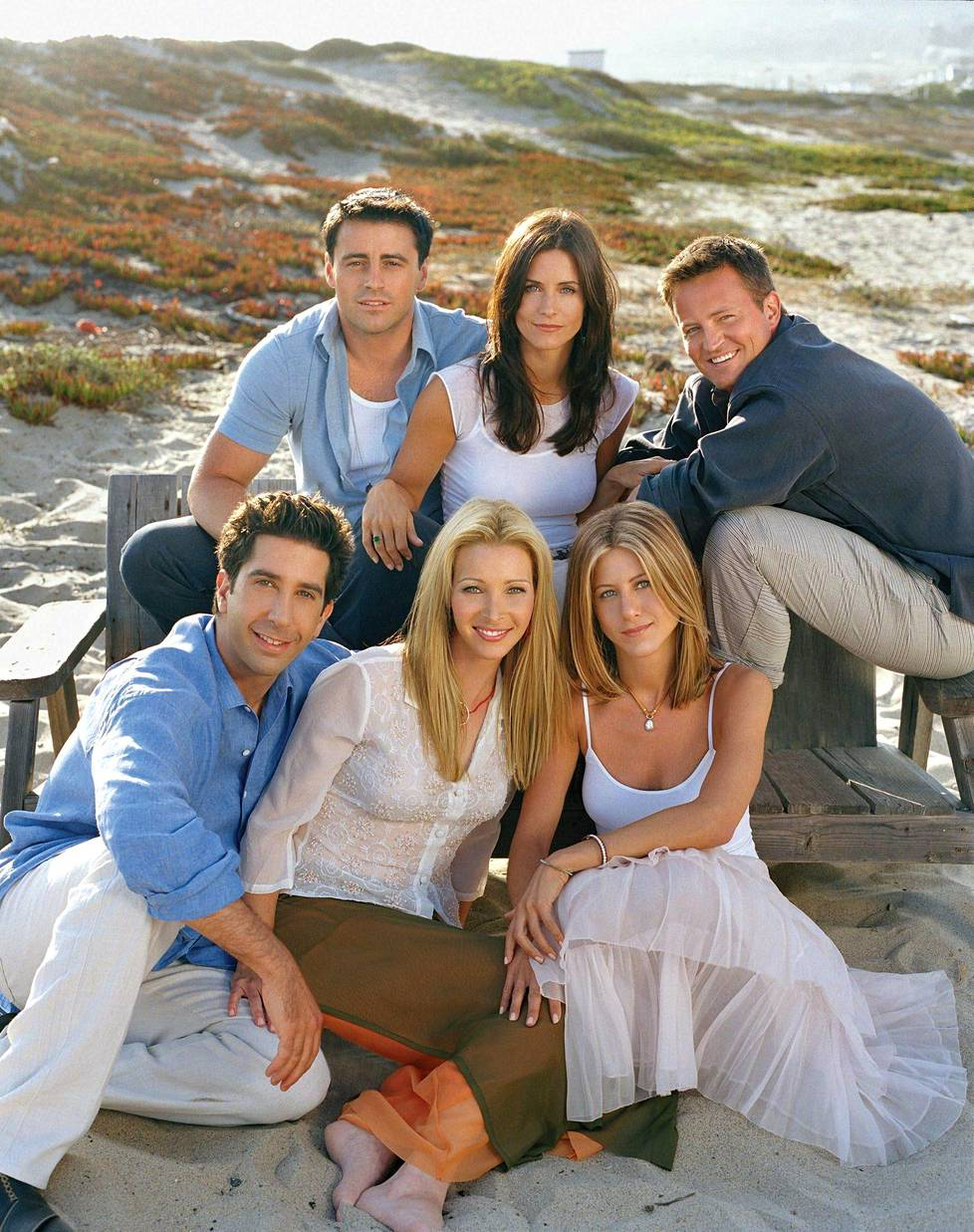 Frendit-sarjan tähdet: Matt LeBlanc (ylh. vas.), Courteney Cox, Matthew Perry, David Schwimmer, Lisa Kudrow ja Jennifer Aniston.