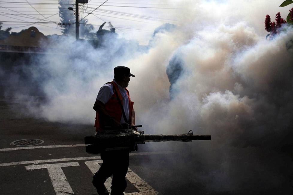 City workers fumigate the Jardines de Merliot neighbourhood as part of preventive measures against the Zika virus and other mosquito-borne diseases in Santa Tecla, El Salvador January 29, 2016.