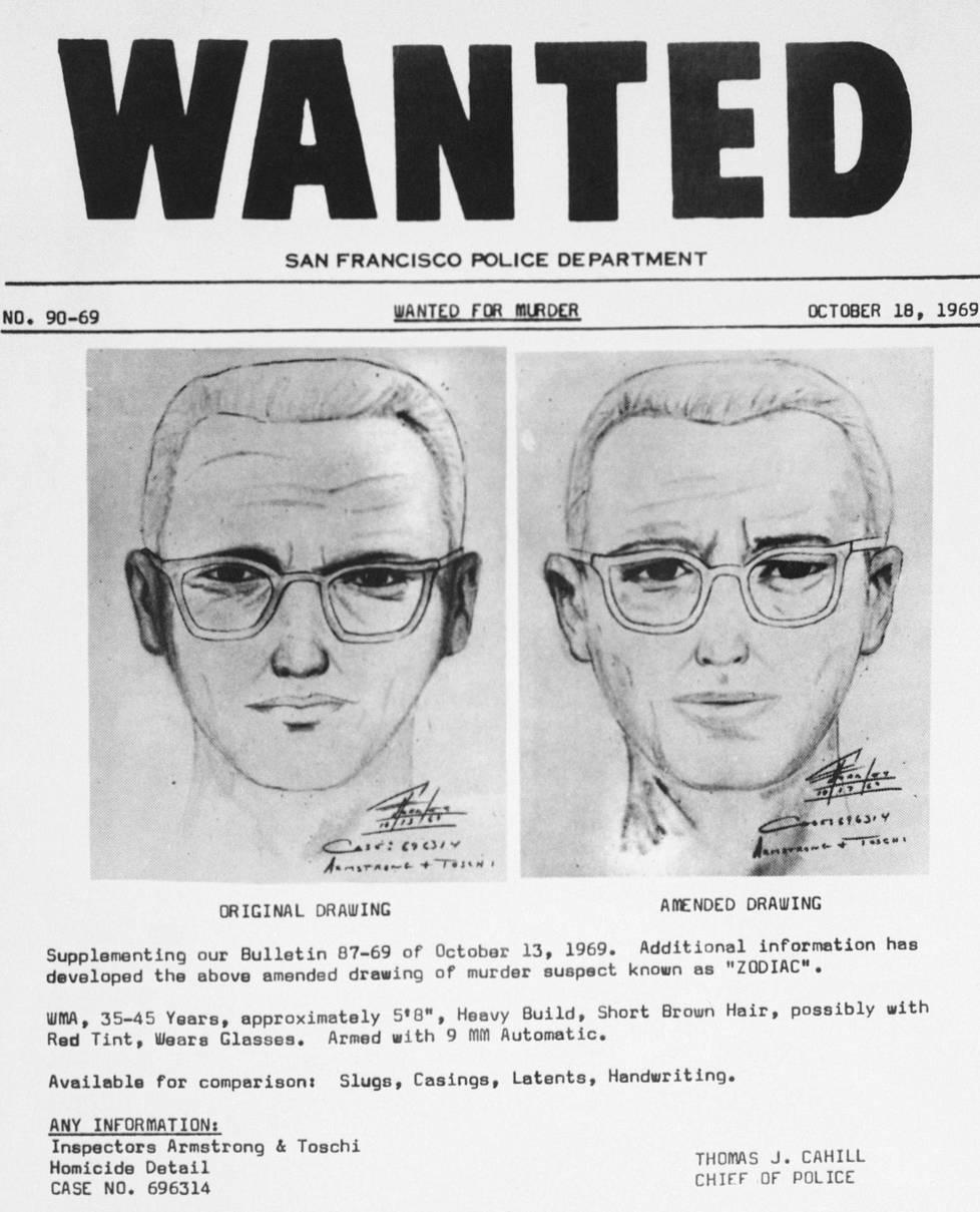 San Franciscon poliisin vuonna 1969 julkaisemia piirroksia tappajasta. Kuvat perustuvat lokakuussa 1969 tapahtuneen taksikuskin surman yhteydessä kerättyihin todistajien kertomuksiin.
