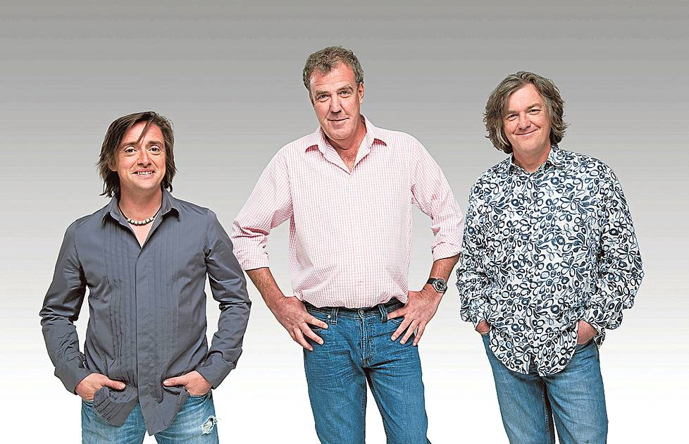 Richard Hammond (vas.), Jeremy Clarkson ja James May.