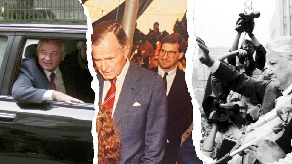 John Sipher on kirjaimellisesti maailmanpoliittisten mullistusten silminnäkijä: Neuvostoliiton Gorbatšov vaihtui Venäjän Boris Jeltsiniin kun Sipher työskenteli Helsingissä. Keskellä hän hymyilee silmälaseissaan Yhdysvaltojen presidentti George Bush vanhemman selän takana Helsingin-lähetystössä.