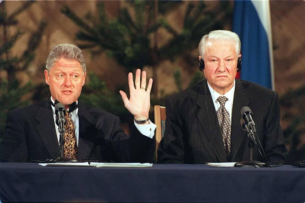 Yhdysvaltain presidentti Bill Clinton ja Venäjän presidentti Boris Jeltsin tapasivat Helsingissä vuonna 1997.