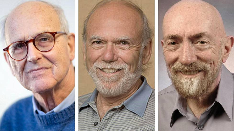 Rainer Weiss, Barry Barish ja Kip Thorne.