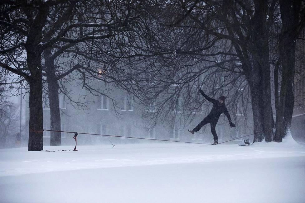 Eero Heino tasapainoili Pengerpuistossa joka-aamuiseen tapaan lumentuprutuksesta huolimatta.