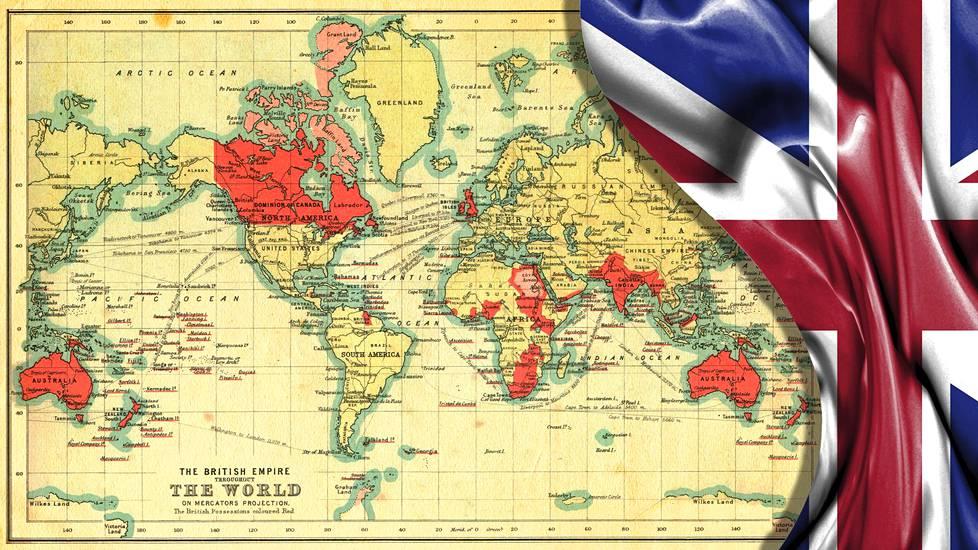 Britti-imperiumin kartta vuodelta 1902. Imperiumiin kuuluvat maat on merkitty punaisella.