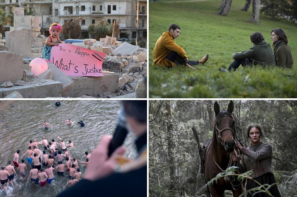 Tämän vuoden Rakkautta & Anarkiaa -festivaalin kiinnostavia elokuvia ovat muiden muassa For Sama (vas. ylh.), Synonyms, God Exists, Her Name Is Petrunya ja The Nightingale.
