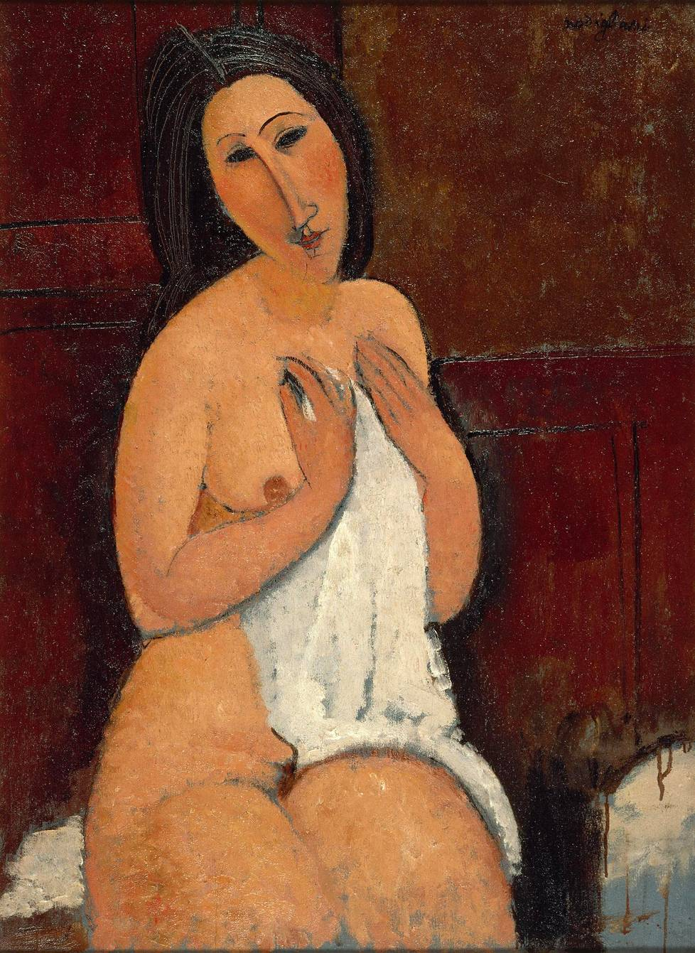 Amedeo Modigliani: Seated Nude With a Shirt (1917).