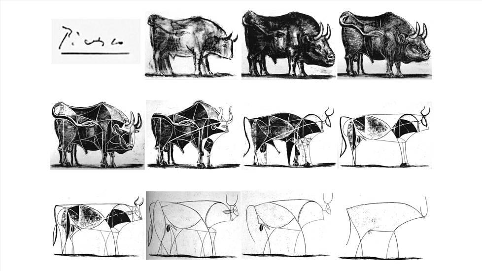 Picasson luonnoksia härästä. Kuvakaappaus muutoskonsultti Alastair Creamerin luennolta Artful Leaders -seminaarista.