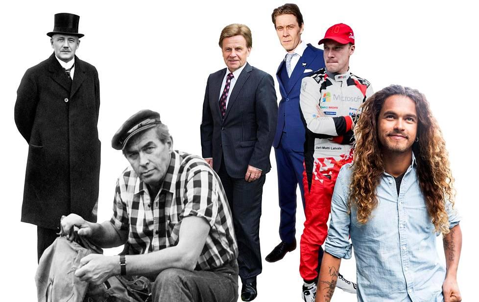 Lauri Kristian Relander teki vain kaksi lasta, Tapio Rautavaara oli yksi suurten ikäluokkien isistä, Mauri Pekkarinen kuuluu Suomen suurimpaan, 1947 syntyneiden ikäluokkaan ja Tuukka Temonen on syntynyt 1975, jolloin suuret ikäluokat tekivät eniten lapsia. Jari-Matti Latvala on lapseton kuten suurin osa 1985 syntyneistä miehistä, kun taas Pete Parkkosella on lapsi toisin kuin suurimmalla osalla 1990 syntyneistä.