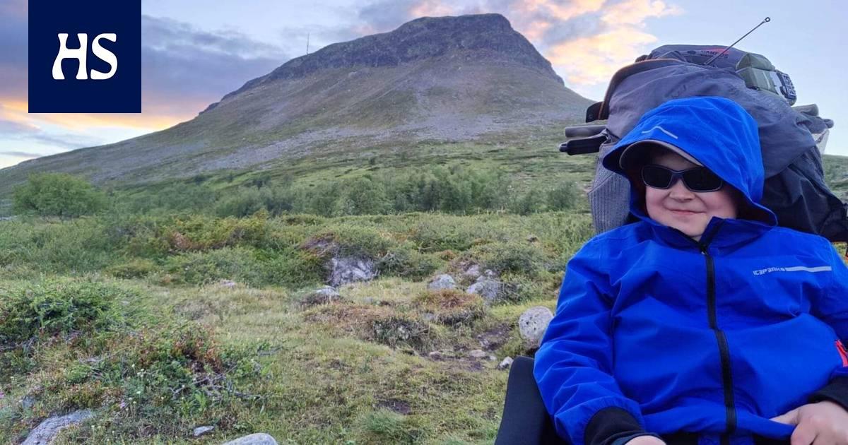 Matkailu | Pyörätuolissa istuva Jere, 14, on kalastanut lapsesta asti, mutta odotettu kalaretki pohjoiseen ei sujunut suunnitellusti: Isä kantoi lopulta poikansa reppuselässä ympäri Saanatunturin