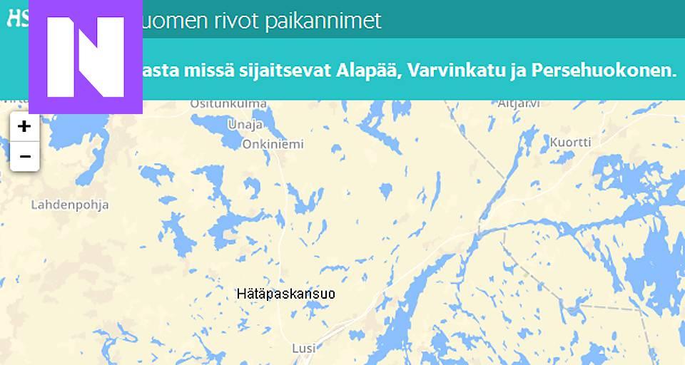 Tassa Ovat Rivot Paikannimet Suomen Kartalla Nyt Fi Hs Fi